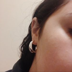 Silver smashed metal earrings